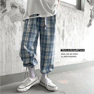 8tQRC tela escocesa de los pantalones de cordón ocasional pantalones hasta los tobillos de verano fina de los hombres y los pantalones colgante tubo suelto recto pierna ancha JTASd