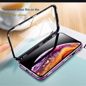 Full Body Metal and Glass Magnetic Phone Case for iPhone XS XR XS Max Tempered Glass Bumper Hard Cover Double-Sided Glass Case