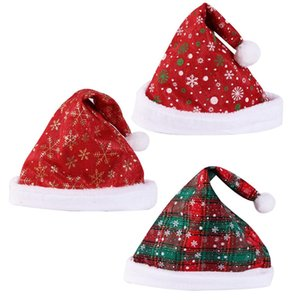 Christmas Santa Claus Hat Red Plaid Christmas Hat Xmas Cosplay Costume Snowflake Pattern Santa Hat Christmas Party Decoration