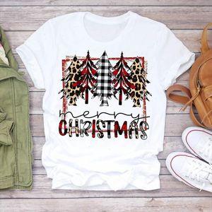 Women Plaid Tree Leopard Star Holiday 90s Merry Christmas Print Tshirts Clothes Top T Shirt Ladies Graphic Female Tee T Shirt