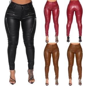 Женщины PU кожаные штаны тенденции моды молния середины талии вскользь Тощий брюки Дизайнер Женский Новая осень тонкий кожаный с карманами Брюки