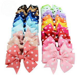 Baby Girls Hairpins Dot Bowknot Hair Clips Colorful Grosgrain Ribbon Bow Tie Kids Hair Accessories 20 Colors Optional BT4177