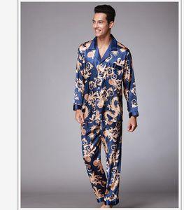 Quality Men Pajamas Set Men Silk Sleepwear Long Sleeve Nightgown Pajamas Silk Nightgown Christmas Gift Underwear
