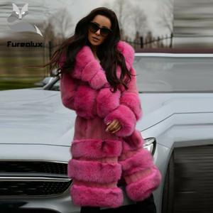 Kürk kollu Bayanlar Kış Doğal Coats Moda Sıcak Yüksek Kalite Uzun Outwear ile Furealux Gerçek Coat