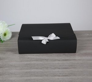 15pcs Large Black Gift Box Packaging,High Quality Kraft Paper Carton With Ribbon, Big Gift Cardboard Large Scarf T-shirt Boxes