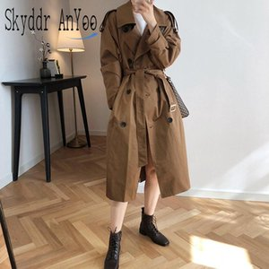 Women Sping Autumn Casual Trench Coat Double Breasted Outwear Fashion Sashes Office Coat Chic Epaulet Design Korean Long Trench