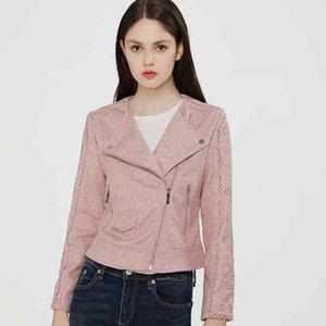 Klacwaya 2020 Automne Femmes Faux cuir suédé Biker Veste manches longues Zipper Suede Streetwear évider manteau rose