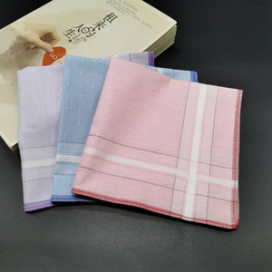 100% Cotton Plaid Handkerchief Women Men Table Satin Hankerchiefs Towel Adult Square Knit Sweat-absorbent Washing Towel 28*28CM DBC BH4222