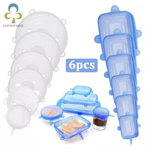 6pcs Reusable Silicone Cover Stretch Lids Universal Wrap Cover Fresh Keeping Silicone Caps Stretchable Magic Lid ZXH1