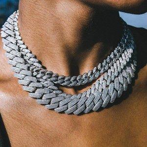 New 19MM Miami Cuba Chine lourd collier 3Row CZ Argent Couleur Or Glacé Zircon Collier Hommes Hip Hop Bijoux Fashion 0927