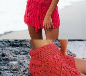 2020 Mulheres Summer Beach Crochet Mini Skirt Bikini Cover Up Hight cintura oco Swimwear Balneares Suit99