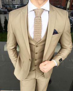 Elegant Khaki Mens Suits 3 piece Custom Made Man suit For Wedding Slim Fit Custom Made Groom Tuxedo Prom Wear (Jacket+Pant+Vest)