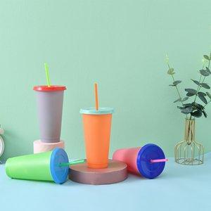 700ml Farbwechsel Cup Reusable Plastic Umweltfreundliche Wasser Cups Deckel Straw Plastikbecher Getränk Tassen Durable Tumbler Verfärbungs VT1735