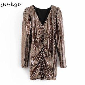 Yenkee зима женщин мода драпированное крепкое платье с длинным рукавом v шеи сексуальные bodycon мини платья рождественская вечеринка vestido mujer