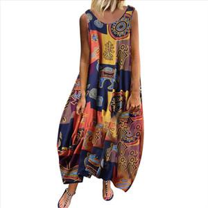Maxi linen dress women sundress summer Floral bohemian beach long Sleeveless T shirt dress wholesale 3 Drop Shipping