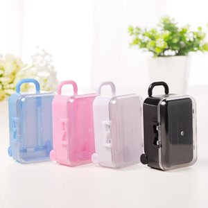 Acrylic Clear Mini Rolling Travel Suitcase Candy Box Baby Shower Wedding Favors Party Table Decoration Supplies Gifts Lx6387