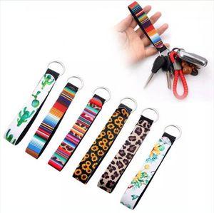 Neue bunte Neopren Armband Keychain Leopard-Drucken Sonnenblume Schlüssel Lanyard Auto Keyring Bag Charme-Anhänger-Partei-Bevorzugung DDA647