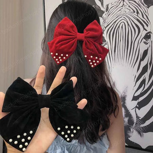Pearl Large Bow Hair Clip For Girls Fashion Hair Clips 2020 New Barrette Solid Color Hairpins Women Hair Accessories