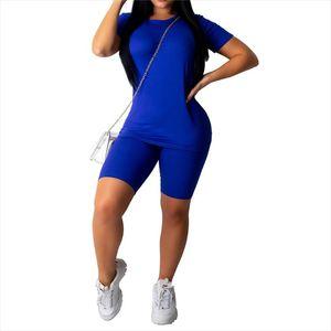 Women Sport Tracksuit Two Piece Set Summer Solid Short Sleeve Top Shirt Short Pants Suit Jogging Outfit Club Matching Set