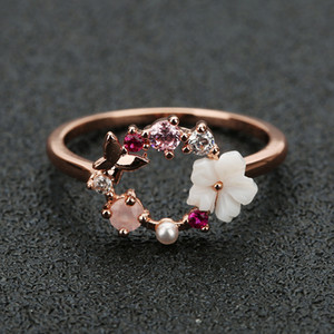 Mode Creatieve Vlinder Bloemen Crystal Finger Trouwringen Voor Vrouwen Rose Goud Zirkoon Glamour Ring Sieraden Meisje Gift Bijoux