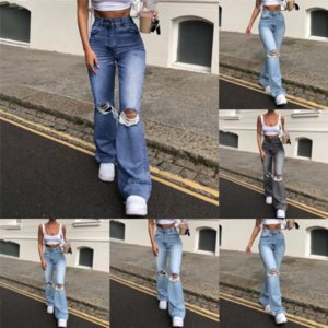 A6L Jeans Verano Pantalones largos Pantalones Diseñadores Mujeres Jeans Flare Lady Jeans Den Bordado Flyny Light Blue Damas lavadas
