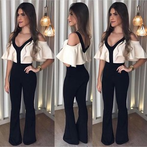 Arrival New women Jumpsuits Autumn V neck Jumpsuits White Top Black Shoulder Off Jumpsuit drop shipping good quality