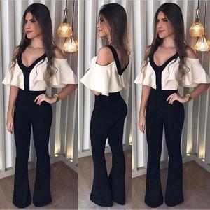Arrival New women Jumpsuits Autumn V neck Jumpsuits White Top Black Shoulder Off Jumpsuit drop shipping good quality