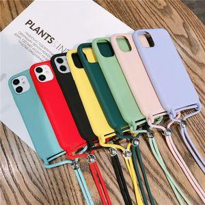 Funda telefónica de silicona para iPhone 12 Pro Max Funda de silicona de color sólido para iPhone 11 Pro X XS Max XR Funda con cordón