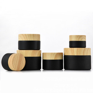 Black frosted glass jars cosmetic jars with woodgrain plastic lids PP liner 5g 10g 15g 20g 30 50g lip balm cream containers