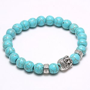Natural Lava Stone Turquoise Prayer Beads Charms Bracelets Anti-fatigue Silver Buddha Volcanic Rock ps0693