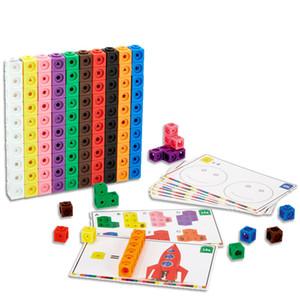 10 couleurs graphiques maths Link Cubes Bébé Compte géométrique Cubes Snap Blocks Stacking Cube Building Kit enfants Education Jouet LJ200922