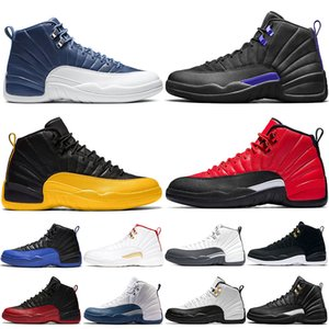 Nike Air Jordan Retro 12s Jumpman di pallacanestro degli uomini calza 12 Formatori nero grigio scuro Concord influenza gioco francese blu Mens Sport Sneaker Size 7-13