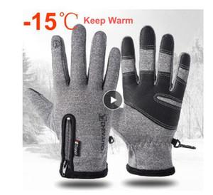 Freddo a prova di sci guanti impermeabili guanti invernali Ciclismo Fluff caldi guanti per il touch screen del tempo freddo antivento Anti Slip