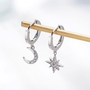 Star Moon Asymmetrical 925 Sterling Silver Cubic Zirconia Hoop Earrings for Women Fashion CZ Circle Ear Ring Earings Jewelry