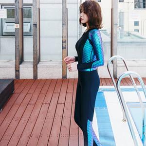 MEIYIER 2020 Плюс Размер Гидрокостюмы для женщин с длинным рукавом Meimaid Swim Suit Diving ткань Передняя молния Surf Swimwear