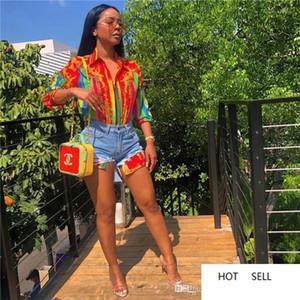 بلوزة عارضة أنثى التلبيب الرقبة القمصان مصمم الأزياء مع زر أنثى مطبوعة رقمية