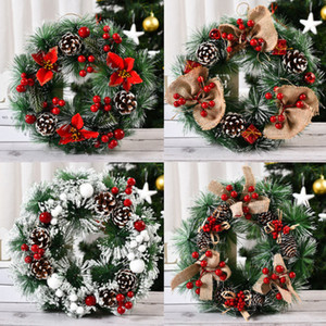 The latest Christmas decoration wreath Handmade simulation Christmas wreath door hanging window Christmas decoration, free shipping