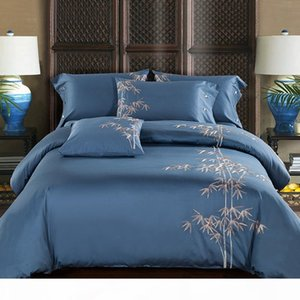 Egyptian Cotton Embroidery Luxury Oriental Bedding set King Queen size Bed set Coffee Bule Duvet cover Bedsheet parrure de lit T200409