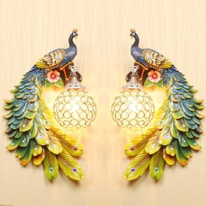 Modern white crystal Peacock Wall Lamp Colorful Gold White Creative LED Crystal Meta Wall Lights For Bedroom Living Dining Room