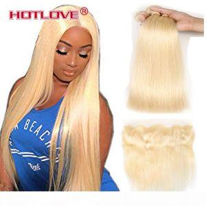 613 Blonde Bundles With Frontal Ear To Ear Straight Human Hair Bundles Blonde Virgin Hair Weave 3 Bundles with Frontal 613# Light Blonde