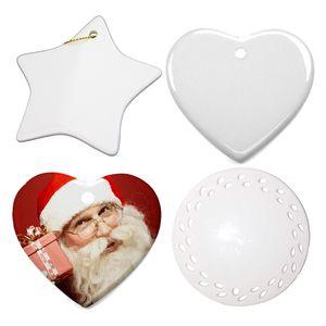 Nuova sublimazione Blanks decorazione di Natale a sospensione in ceramica per l'inchiostro di sublimazione stampa di trasferimento della pressa di calore fai da te OOA9694