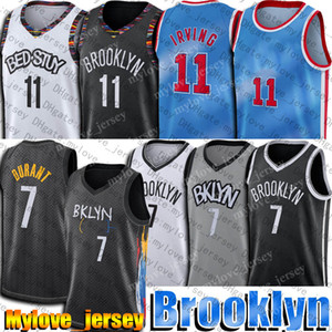 Kevin 7 Durant Jersey Kyrie 11 Basketbol Irving Formalar Brooklyns Jersey 2021 Blue Jean-Michel Basquiat City Jersey