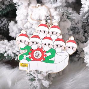 Free Shipping Family Face Mask Snowman Christmas Tree Pendant Survivor Wooden Ornaments 2020 Hand Sanitizer Christmas Pendant DIY F6703