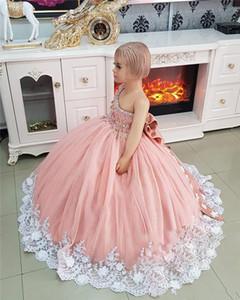 Новый дешевый розовые милый цветок девочка платья для свадьбы одно плеча белого шнурка кристаллических шариков Bow День рождения Дети Девочка Pageant платье
