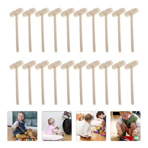 20pcs Solid Wood Mini Hammers Hitting Hammer Toys Creative Educational Toy (Oval)