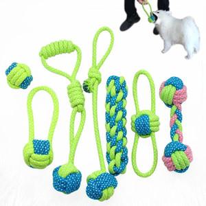 7 pçs / lote cão brinquedos para animais de estimação filhote de cachorro mastigar brinquedo bola de algodão corda nó jogando brinquedos interativos para pequenos cães médios grandes byyfl