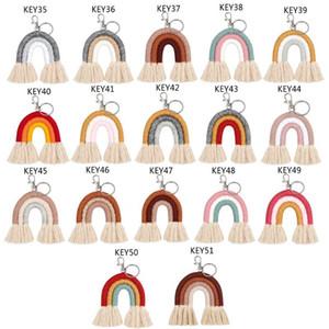luxury- Weaving Rainbow Keychains for Women Tassel Macrame Keyrings Key Holder Jewelry