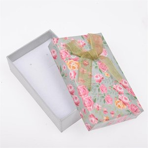 8*5cm Paper Jewelry Gift Box Necklace Bracelet Earrings Rose Flower Pattern Bowknot Party Gift Packing box Display 1PC