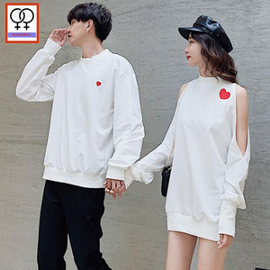 Winter Mini Tunic Sweatshirts Hoodies Casual Long Sleeve Love Printed White Open Off Shoulder Tops Tunic Matching Couple Clothes