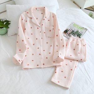 Uyku İlkbahar ve Sonbahar Kış Uzun kollu Uzun Pantolon Sıcak pamuk dolgulu Artı boyutu Pijama Kış Pijama Kadınlar C1115 Tops